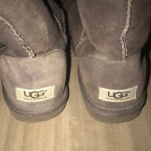 Ugg Shoes Suade Tall Brown Fuzzy Boots With Buttons